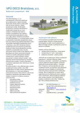 CAD Studio - referencia VPÚ DECO Bratislava