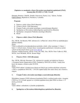 Zápisnica zo zasadnutia výboru Slovenskej neurologickej