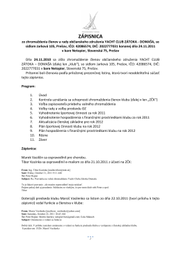 Zápisnica z valného zhromaždenia klubu zo dňa 24.11.2011