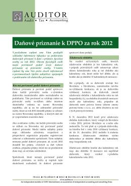 Daňové priznanie DPPO za rok 2012