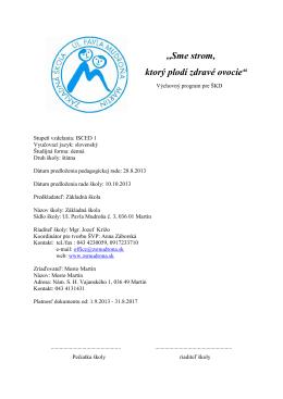 Výchovný program 2013 - 2017