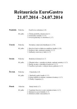 Reštaurácia EuroGastro 21.07.2014 –24.07.2014