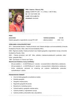 RNDr. Katarína Vilinová, PhD. - Katedra geografie a regionálneho
