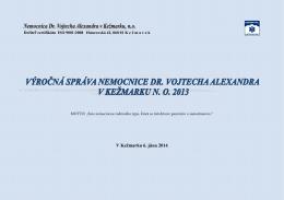 Výročná správa 2013 - Nemocnica Dr.Vojtecha Alexandra v