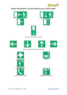 značky pre núdzový východ, únikové cesty a prvú - BE