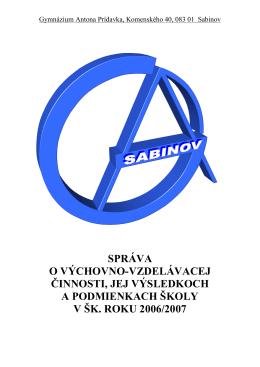 Záverečná správa za šk. rok 2006/2007