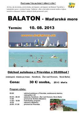 BALATON - Maďarské more - Cestovná agentúra Výletovo