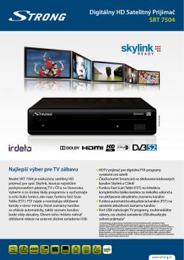 Digitálny HD Satelitný Prijímač SRT 7504