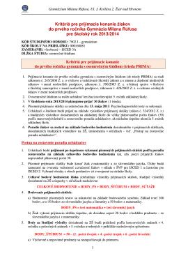 Kritériá pre prijímacie konanie žiakov do prvého ročníka Gymnázia