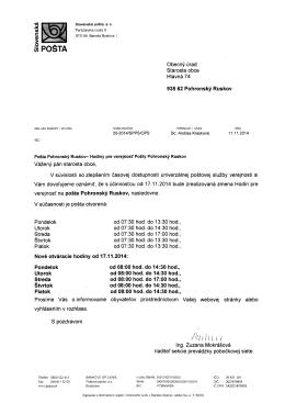 Otváracie hodiny Pošta Pohronský Ruskov