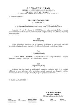 Plavebné opatrenie č. 131/2014/UVC