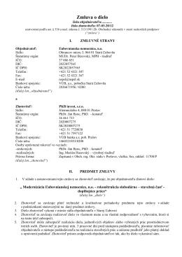 Zmluva o dielo - Ľubovnianska nemocnica n. o.