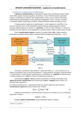 SPOJITÉ LINEÁRNE RIADENIE – Laplaceova transformácia