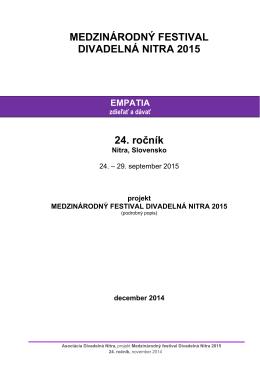 Projekt Medzinárodný festival Divadelná Nitra 2015