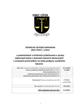 VZN č. 1/2014 o podmienkach udeľovania a správy