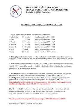 Informácia pre vzpieračské oddiely a kluby