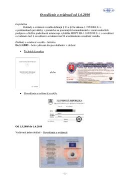 Osvedčenie o evidencii od 1.6.2010