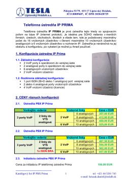 Telefónna ústredňa IP PRIMA