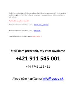 Stačí nám prezvoniť, my Vám zavoláme +44 7746 116 451