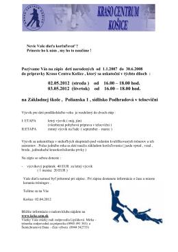 Zápis na letnú časť prípravky v sezóne 2012/2013