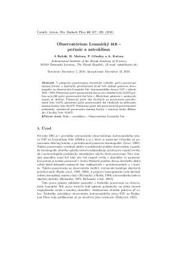 Observatórium Lomnický ²tít - po£asie a astroklíma