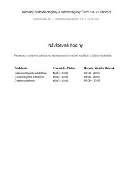 Návštevné hodiny - Národný endokrinologický a diabetologický