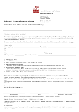 Sprievodný list pre vyšetrujúceho lekára - imarket