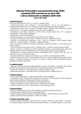 Prehľad aktivít Prešovského samosprávneho kraja v okrese