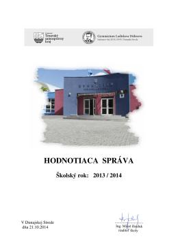 Hodnotiaca správa za šk.rok 2013/14