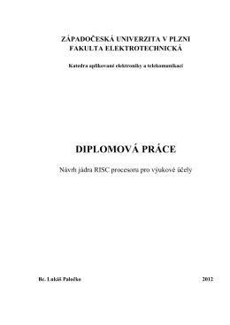 ŠABLONA PRO DP/BP PRÁCE - Západočeská univerzita v Plzni