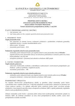 Anglický jazyk pre komerčnú prax - Filozofická fakulta KU