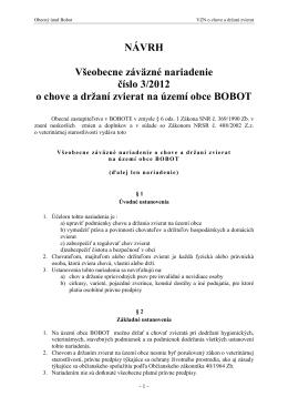 NÁVRH Všeobecne záväzné nariadenie číslo 3/2012 o