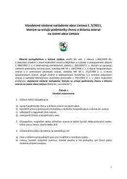 VZN č. 3/2011, ktorým sa určujú podmienky chovu a