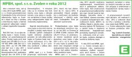 MPBH, spol. s r. o. Zvolen v roku 2012