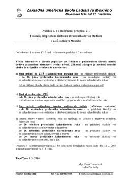 Dodatok k Internej smernici o poplatkoch