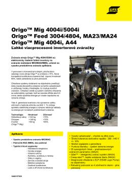 Zváracie stroje Origo™ Mig 4004i/5004i