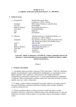 ZMLUVA o nájme nebytových priestorov č. 28/2011 1. Zmluvné