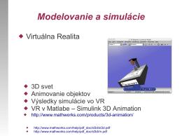 Modelovanie a simulácie