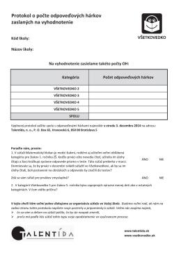 Protokol o počte OH na vyhodnotenie