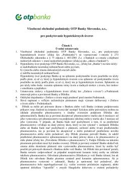Všeobecné obchodné podmienky OTP Banky Slovensko, a.s., pre
