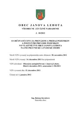 VZN 18-2012 - Janova Lehota