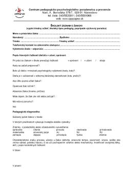Školský záznam ZŠ - CPPPaP Námestovo