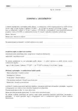 ZÁPISNICA / JEGYZŐKÖNYV