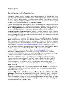 slovenčine - Ekologická stopa
