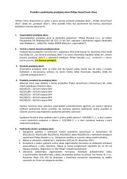 Pravidlá a podmienky predajnej akcie Philips SensoTouch zľava
