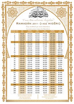 Rozvrh pôstu pre Ramadán1432/ 2011