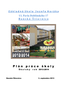Plá práce 2013/2014 - Základná škola Jozefa Horáka