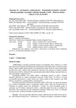 Program 16 - KATEDRA PEDOLÓGIE A GEOLÓGIE