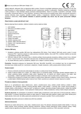 SK Návod na použitie pre GSM alarm Solight - SOLIGHT E-shop