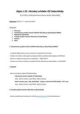 Zápis z 25. členskej schôdze OZ Sebechleby